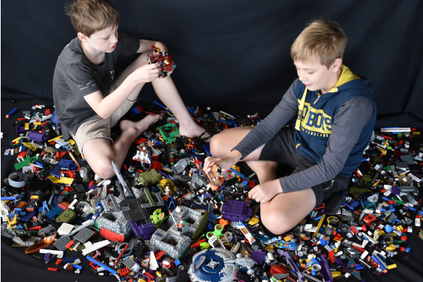 2 Boys playing with lego in the Lego Activity Area new at the 2019 Pine Rivers Show